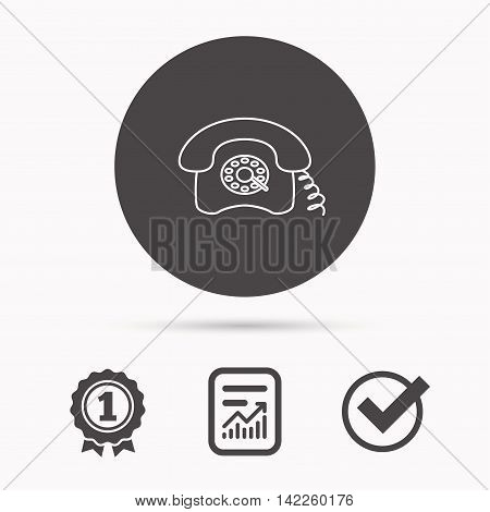 Retro phone icon. Old telephone sign. Report document, winner award and tick. Round circle button with icon. Vector