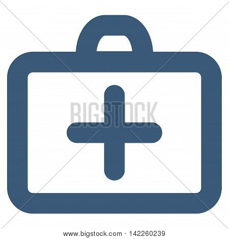 First Aid vector icon. Style is stroke flat icon symbol, blue color, white background.