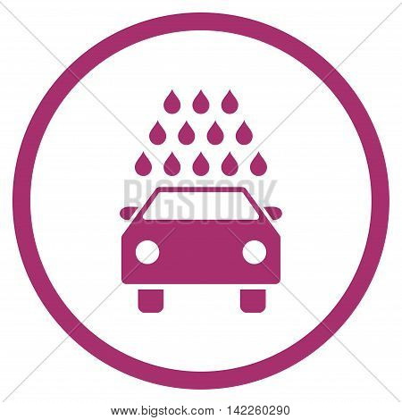 Car Wash vector icon. Style is flat rounded iconic symbol, car wash icon is drawn with purple color on a white background.
