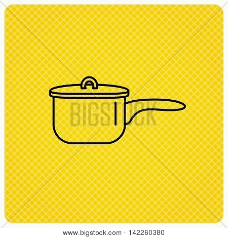 Saucepan icon. Cooking pot or pan sign. Linear icon on orange background. Vector