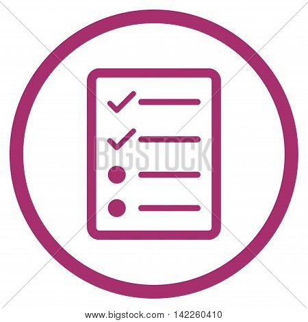 Checklist Page vector icon. Style is flat rounded iconic symbol, checklist page icon is drawn with purple color on a white background.