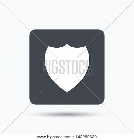 Shield protection icon. Defense equipment symbol. Gray square button with flat web icon. Vector