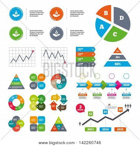 Data pie chart and graphs. Helping hands icons. Money insurance symbols. Hand holds cash bag in Dollars, Euro, Pounds and Yen signs. Presentations diagrams. Vector