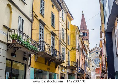 Via Xx Settembre And Cathedral Of Piacenza. Emilia-romagna. Italy.