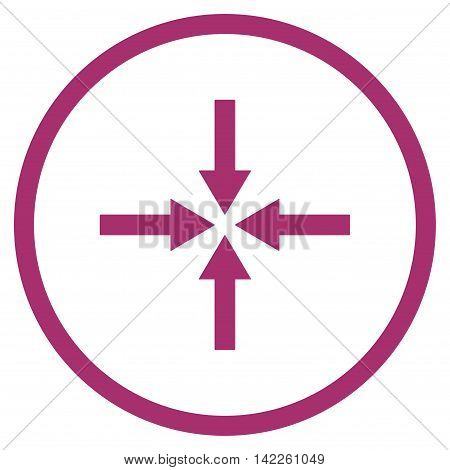 Impact Arrows vector icon. Style is flat rounded iconic symbol, impact arrows icon is drawn with purple color on a white background.