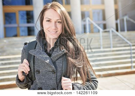 A portrait of an university student on campus