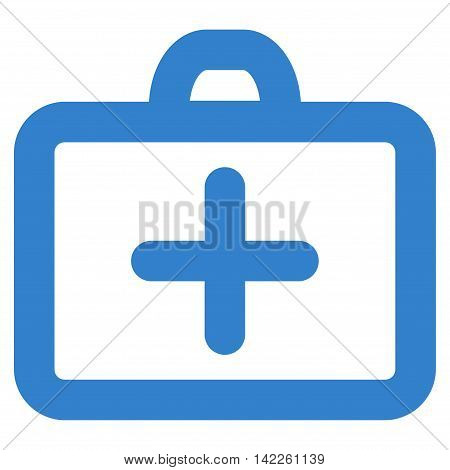 First Aid vector icon. Style is linear flat icon symbol, cobalt color, white background.