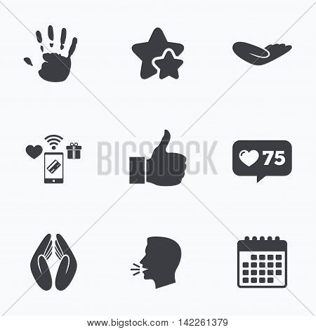 Hand icons. Like thumb up symbol. Insurance protection sign. Human helping donation hand. Prayer hands. Flat talking head, calendar icons. Stars, like counter icons. Vector