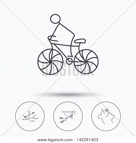 Diving, biking and horseback riding icons. Boating linear sign. Linear icons in circle buttons. Flat web symbols. Vector