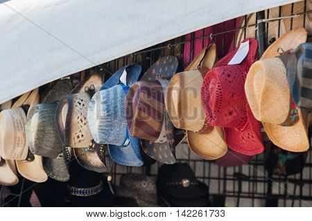 Variety of wide brimmed cowboy hats for sale