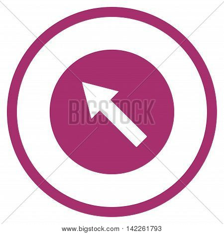 Up-Left Rounded Arrow vector icon. Style is flat rounded iconic symbol, up-left rounded arrow icon is drawn with purple color on a white background.