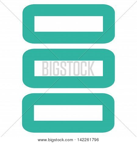 Database vector icon. Style is outline flat icon symbol, cyan color, white background.