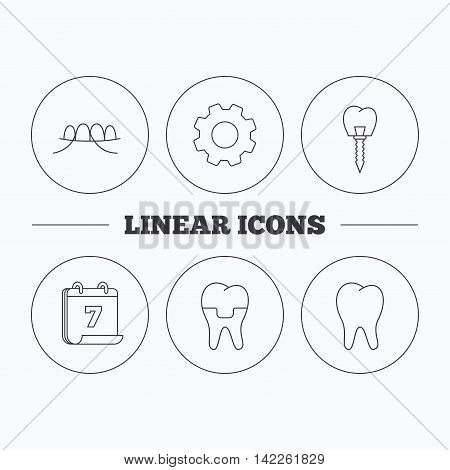 Dental implant, floss and tooth icons. Dental crown linear sign. Flat cogwheel and calendar symbols. Linear icons in circle buttons. Vector