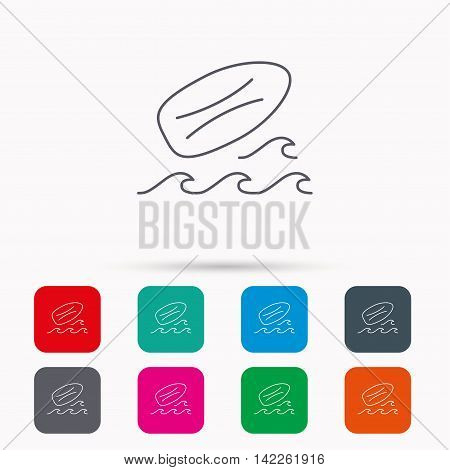 Surfboard icon. Surfing waves sign. Linear icons in squares on white background. Flat web symbols. Vector