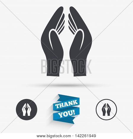Pray hands sign icon. Religion priest faith symbol. Flat icons. Buttons with icons. Thank you ribbon. Vector