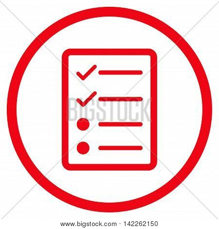 Checklist Page vector icon. Style is flat rounded iconic symbol, checklist page icon is drawn with red color on a white background.