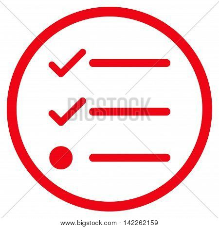 Checklist vector icon. Style is flat rounded iconic symbol, checklist icon is drawn with red color on a white background.