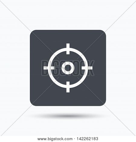 Target icon. Crosshair aim symbol. Gray square button with flat web icon. Vector