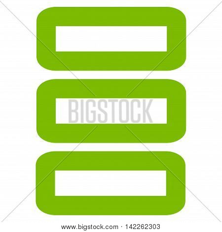 Database vector icon. Style is stroke flat icon symbol, eco green color, white background.