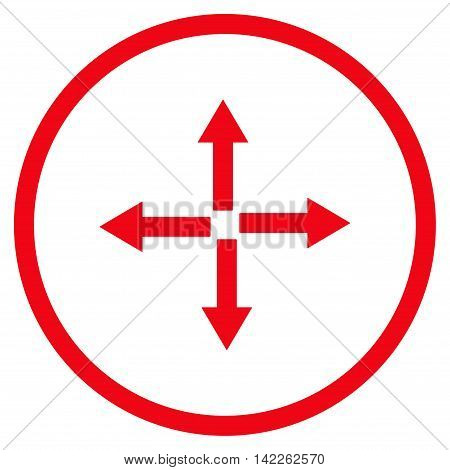 Expand Arrows vector icon. Style is flat rounded iconic symbol, expand arrows icon is drawn with red color on a white background.