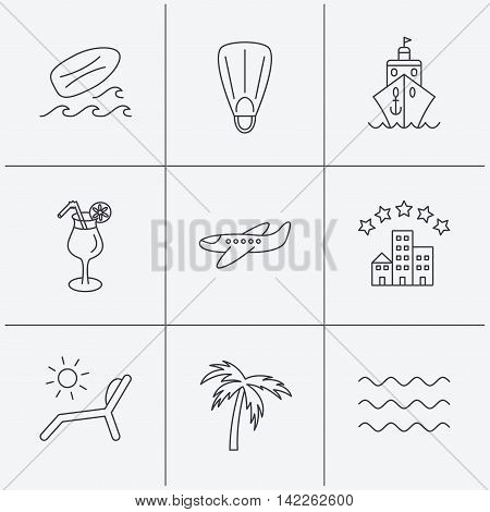 Cruise, waves and cocktail icons. Hotel, palm tree and surfboard linear signs. Airplane, deck chair and flippers flat line icons. Linear icons on white background. Vector
