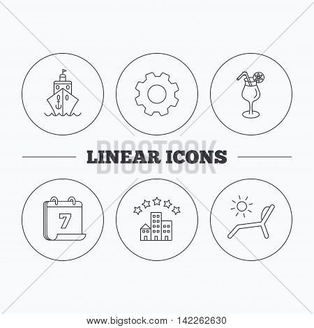 Cruise, waves and cocktail icons. Hotel, deck chair linear signs. Flat cogwheel and calendar symbols. Linear icons in circle buttons. Vector