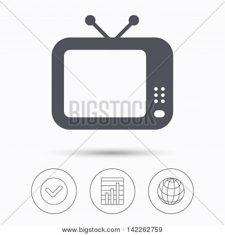 TV icon. Retro television symbol. Check tick, graph chart and internet globe. Linear icons on white background. Vector