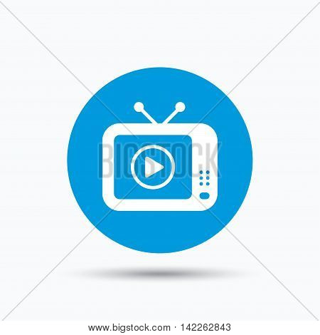 TV icon. Retro television symbol. Blue circle button with flat web icon. Vector