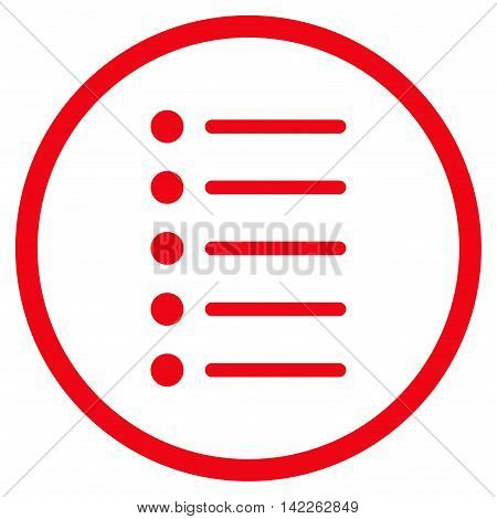 Items vector icon. Style is flat rounded iconic symbol, items icon is drawn with red color on a white background.