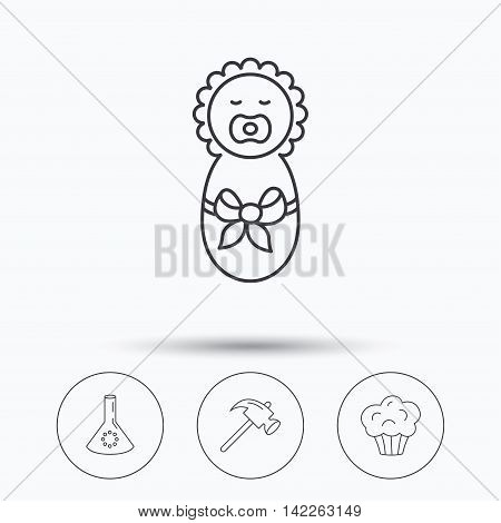 Newborn, muffin and lab bulb icons. Hammer linear sign. Linear icons in circle buttons. Flat web symbols. Vector