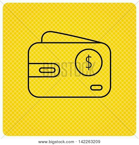 Dollar wallet icon. USD cash money bag sign. Linear icon on orange background. Vector