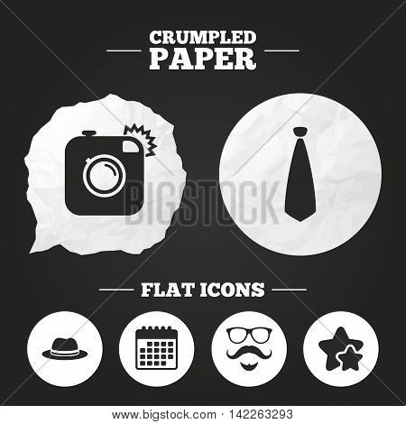 Crumpled paper speech bubble. Hipster photo camera. Mustache with beard icon. Glasses and tie symbols. Classic hat headdress sign. Paper button. Vector