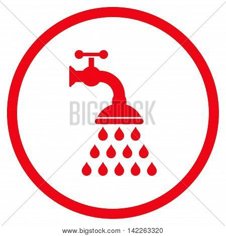 Shower Tap vector icon. Style is flat rounded iconic symbol, shower tap icon is drawn with red color on a white background.