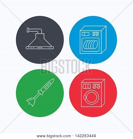 Dishwasher, washing machine and blender icons. Kitchen hood linear sign. Linear icons on colored buttons. Flat web symbols. Vector