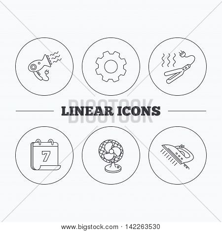 Steam ironing, curling iron and hairdryer icons. Ventilator linear sign. Flat cogwheel and calendar symbols. Linear icons in circle buttons. Vector