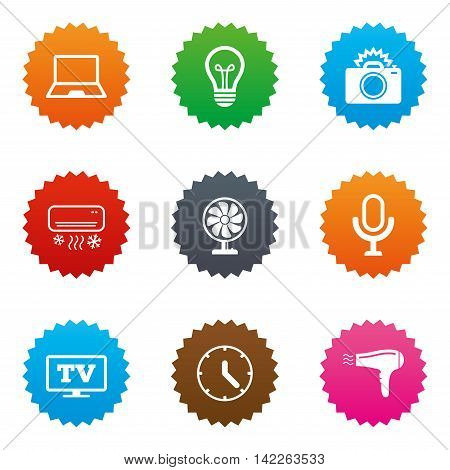 Home appliances, device icons. Air conditioning sign. Photo camera, computer and ventilator symbols. Stars label button with flat icons. Vector