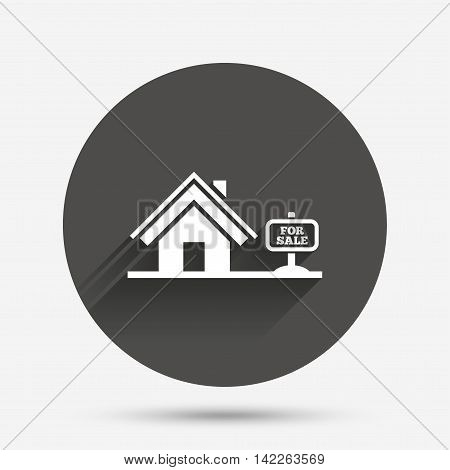 Home sign icon. House for sale. Broker symbol. Circle flat button with shadow. Vector