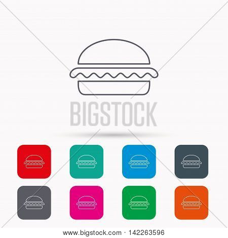 Vegetarian burger icon. Healthy fast food sign. Burger symbol. Linear icons in squares on white background. Flat web symbols. Vector