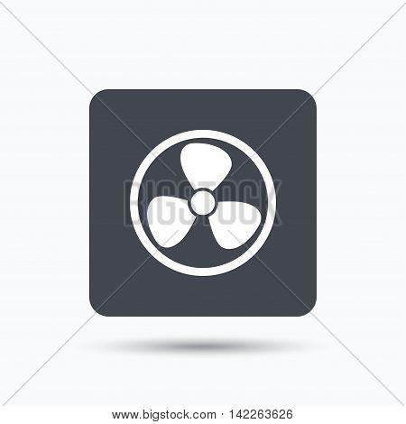 Ventilation icon. Air ventilator or fan symbol. Gray square button with flat web icon. Vector
