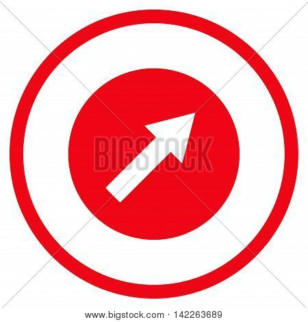 Up-Right Rounded Arrow vector icon. Style is flat rounded iconic symbol, up-right rounded arrow icon is drawn with red color on a white background.