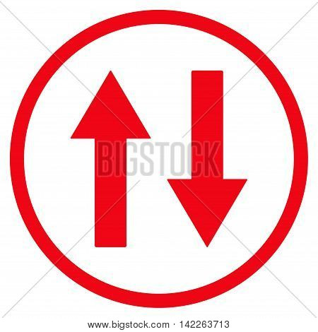 Vertical Flip Arrows vector icon. Style is flat rounded iconic symbol, vertical flip arrows icon is drawn with red color on a white background.