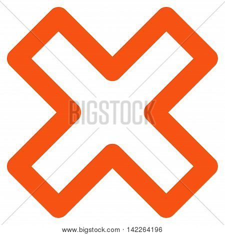 Delete X-Cross vector icon. Style is outline flat icon symbol, orange color, white background.