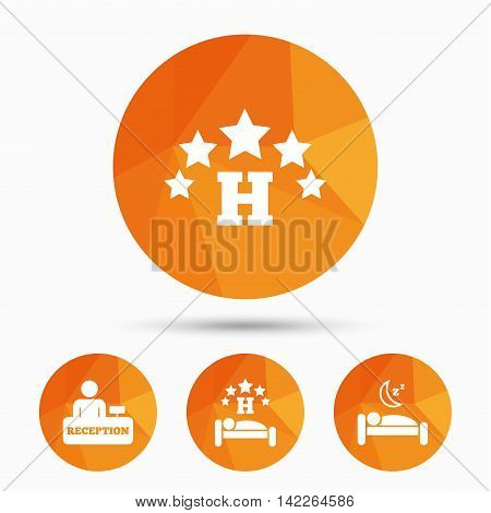 Five stars hotel icons. Travel rest place symbols. Human sleep in bed sign. Hotel check-in registration or reception. Triangular low poly buttons with shadow. Vector