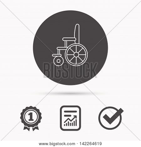 Wheelchair icon. Disabled traffic sign. Report document, winner award and tick. Round circle button with icon. Vector