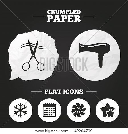 Crumpled paper speech bubble. Hotel services icons. Air conditioning, Hairdryer and Ventilation in room signs. Climate control. Hairdresser or barbershop symbol. Paper button. Vector