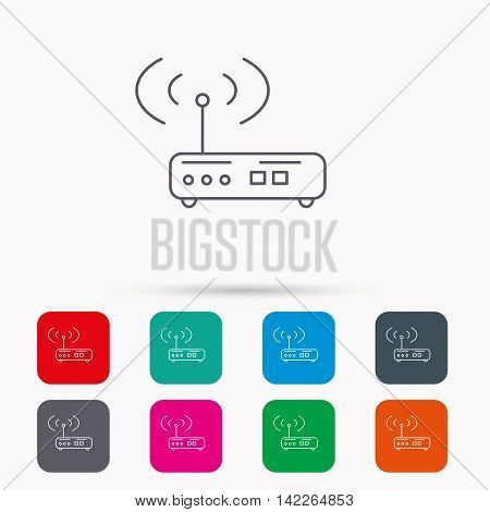 Wi-fi router icon. Wifi wireless internet sign. Device with antenna symbol. Linear icons in squares on white background. Flat web symbols. Vector