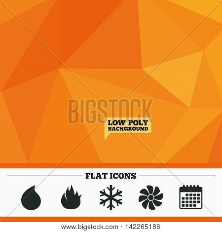 Triangular low poly orange background. HVAC icons. Heating, ventilating and air conditioning symbols. Water supply. Climate control technology signs. Calendar flat icon. Vector