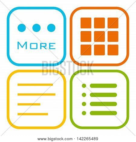 Hamburger menu icons set. Vector color symbols collection isolated on white background.