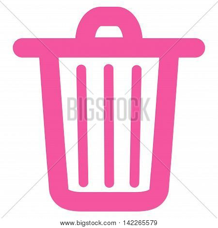 Trash Can vector icon. Style is linear flat icon symbol, pink color, white background.