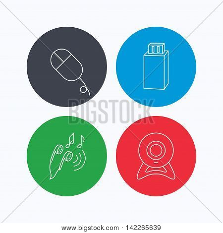 Web camera, USB flash and PC mouse icons. Headphones linear sign. Linear icons on colored buttons. Flat web symbols. Vector